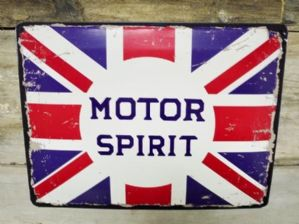 RETRO STYLED 'MOTOR SPIRIT' DISTRESSED METAL PLAQUE
